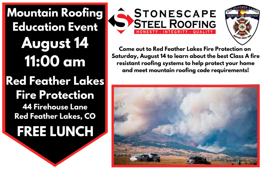 Mountain Roofing Education Event promotional flyer by Stonescape Steel Roofing